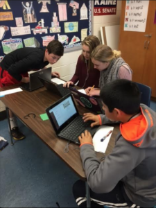 Photo of students working on a Breakout E D U project