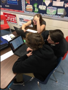 Photo of students working on a Breakout E D U project.