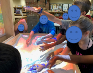 students working in an augmented reality sandbox