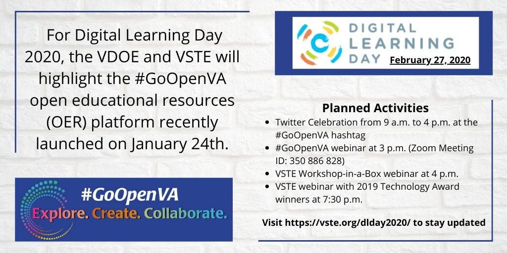 Graphic with details for Digital Learning Day