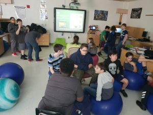 students working in groups in a classroom