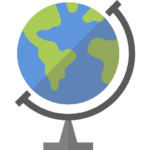 cartoon image of a globe on a stand