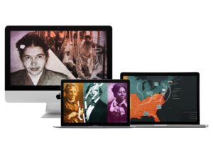several computers with history site showing on the screens
