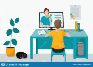 Cartoon of student at desk in front of a computer
