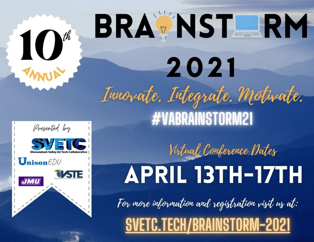Graphic with information for Brainstorm conference