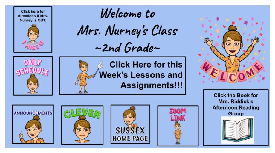 screenshot of website by 2nd grade teacher