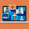 graphic of a laptop with people in videoconferencing boxes